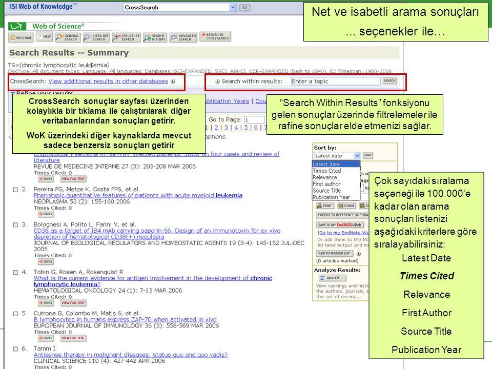Copyright 2006 Thomson Corporation 19 CrossSearch sonuçlar sayfası üzerinden kolaylıkla bir tıklama ile çalıştırılarak diğer veritabanlarından sonuçları getirir.