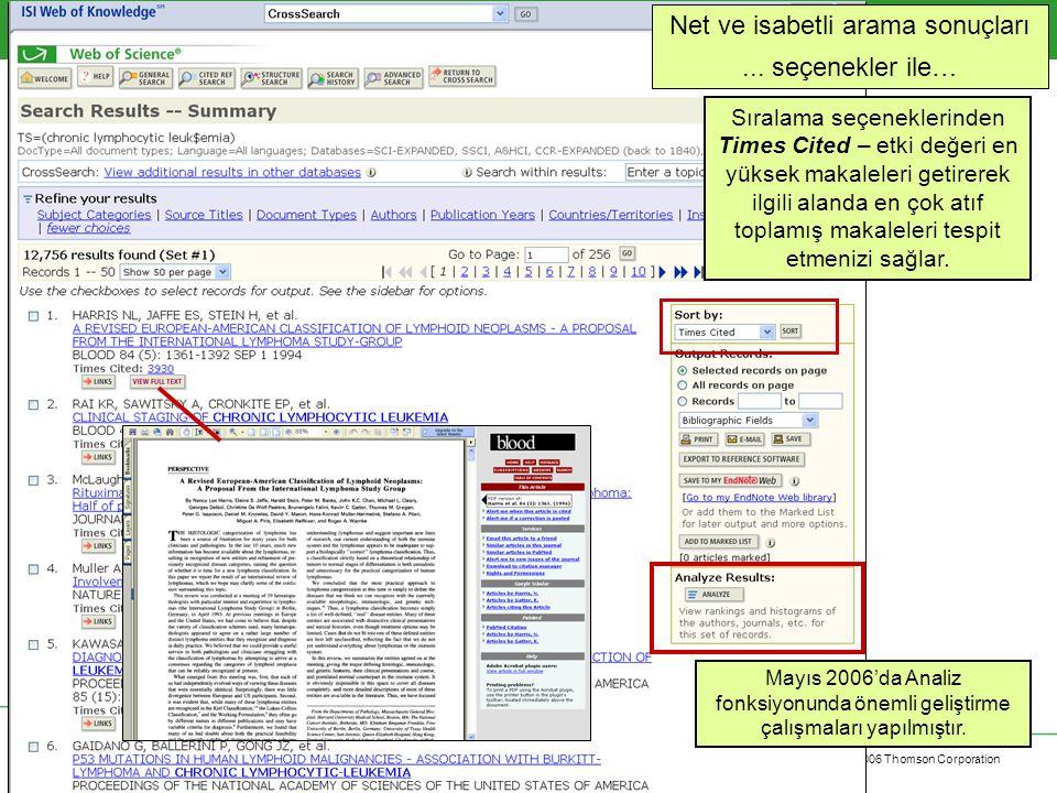 Copyright 2006 Thomson Corporation 21 ISI Web of Knowledge Mayıs 2006'daki geliştirme ile güçlü analiz olanakları sağlandı.