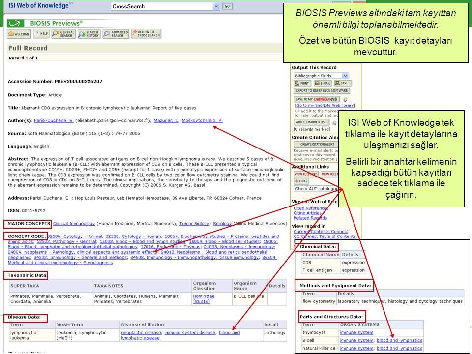 BIOSIS Previews altındaki tam kayıttan önemli bilgi toplanabilmektedir.