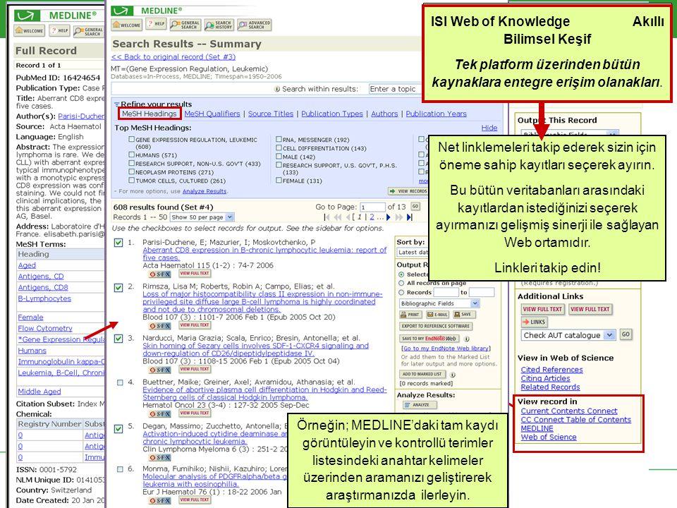 Örneğin; MEDLINE'daki tam kaydı görüntüleyin ve kontrollü terimler listesindeki anahtar kelimeler üzerinden aramanızı geliştirerek araştırmanızda ilerleyin.