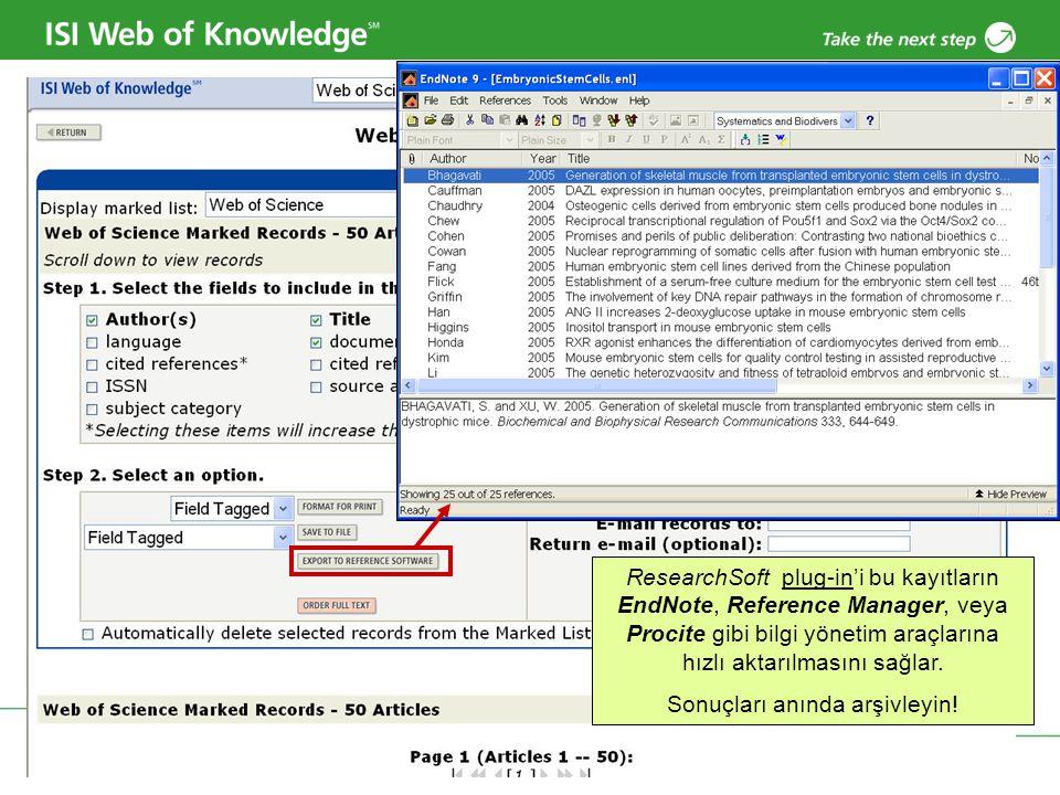 Copyright 2006 Thomson Corporation 38 ResearchSoft plug-in'i bu kayıtların EndNote, Reference Manager, veya Procite gibi bilgi yönetim araçlarına hızl