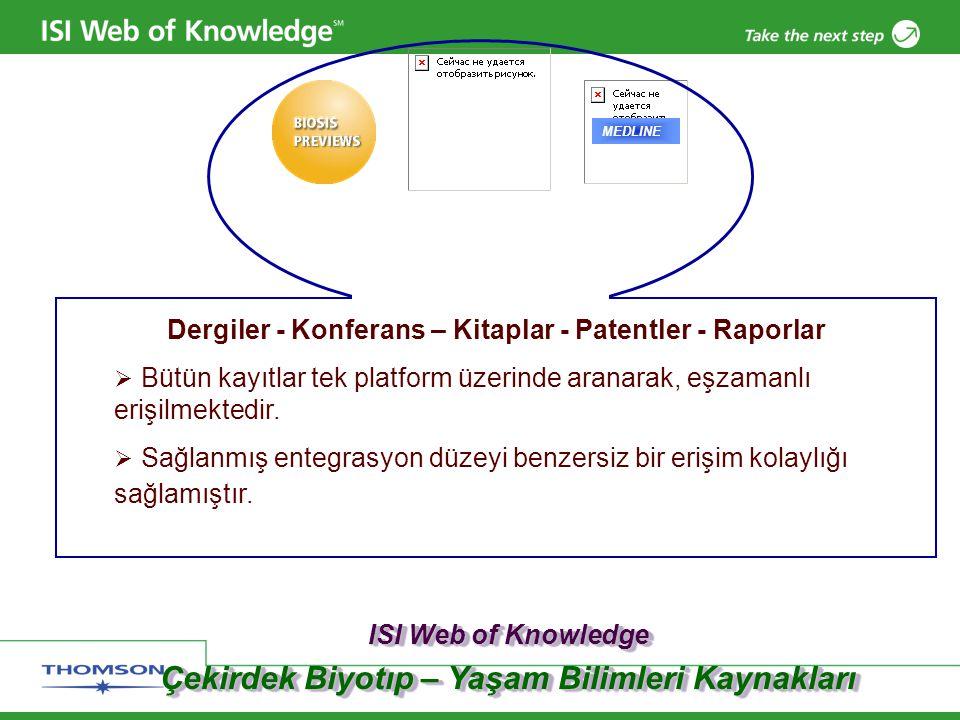 MEDLINE Dergiler - Konferans – Kitaplar - Patentler - Raporlar  Bütün kayıtlar tek platform üzerinde aranarak, eşzamanlı erişilmektedir.