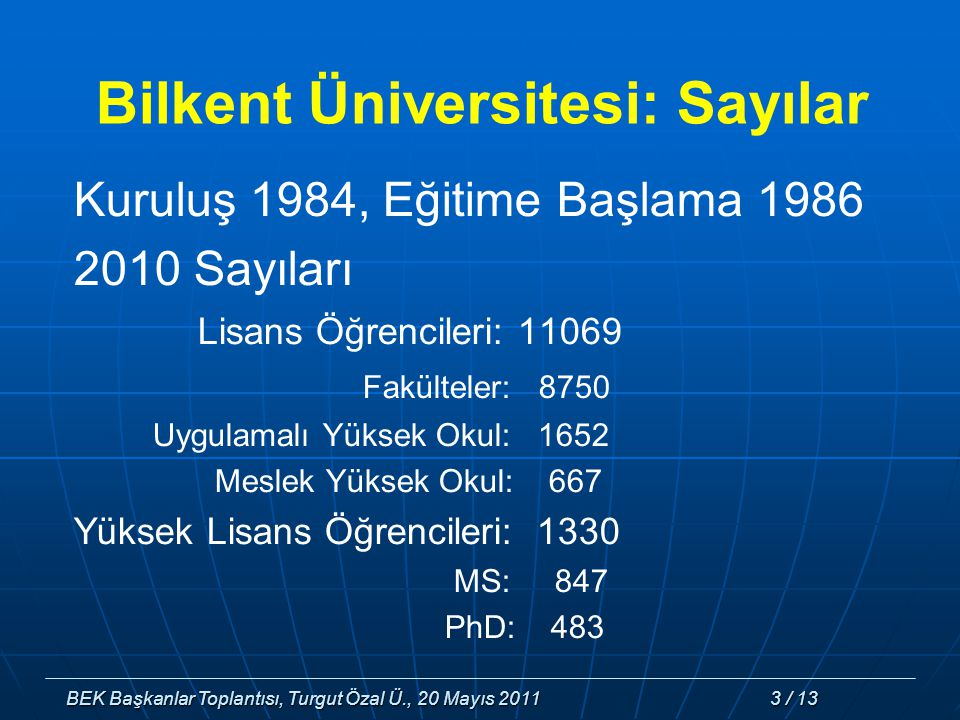 BEK Başkanlar Toplantısı, Turgut Özal Ü., 20 Mayıs 2011 3 / 13 Bilkent Üniversitesi: Sayılar Kuruluş 1984, Eğitime Başlama 1986 2010 Sayıları Lisans Öğrencileri: 11069 Fakülteler: 8750 Uygulamalı Yüksek Okul: 1652 Meslek Yüksek Okul: 667 Yüksek Lisans Öğrencileri: 1330 MS: 847 PhD: 483