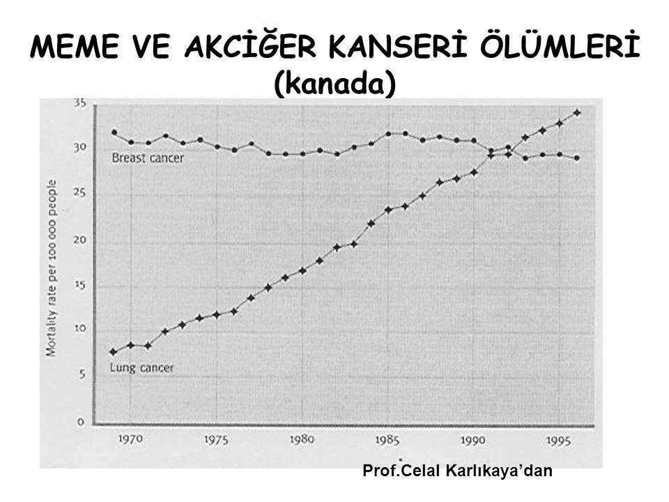 MEME VE AKCİĞER KANSERİ ÖLÜMLERİ (kanada) Prof.Celal Karlıkaya'dan