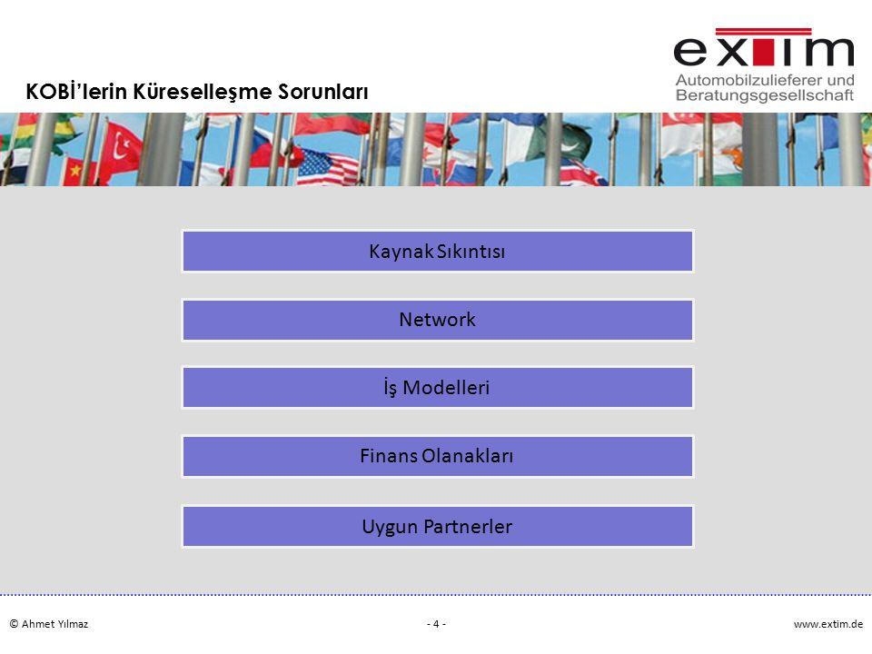 © Ahmet Yılmazwww.extim.de - 4 - KOBİ'lerin Küreselleşme Sorunları Kaynak Sıkıntısı Network İş Modelleri Finans Olanakları Uygun Partnerler