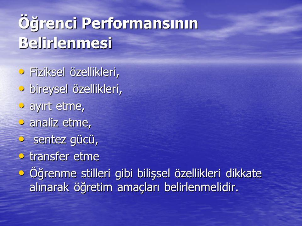 Öğrenci Performansının Belirlenmesi Fiziksel özellikleri, Fiziksel özellikleri, bireysel özellikleri, bireysel özellikleri, ayırt etme, ayırt etme, an