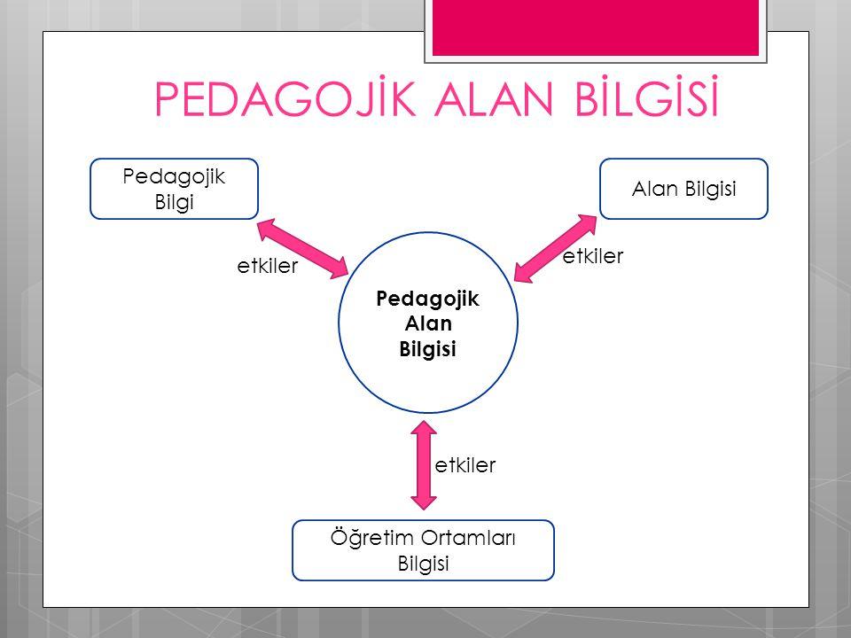 PEDAGOJİK ALAN BİLGİSİ Pedagojik Alan Bilgisi Pedagojik Bilgi Alan Bilgisi Öğretim Ortamları Bilgisi etkiler