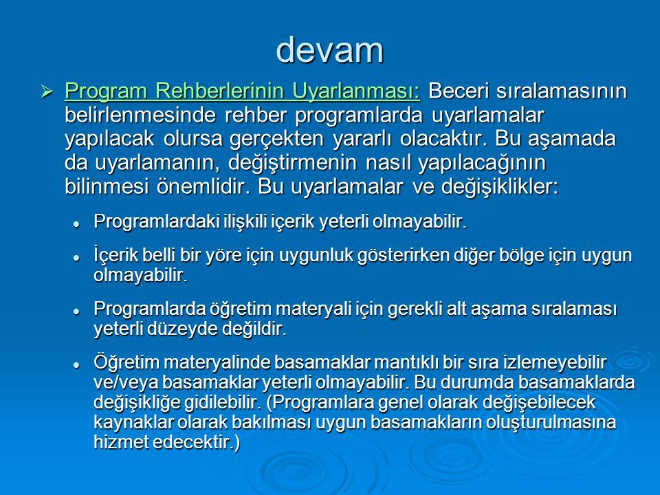 devam  Program Rehberlerinin Uyarlanması: Beceri sıralamasının belirlenmesinde rehber programlarda uyarlamalar yapılacak olursa gerçekten yararlı olacaktır.