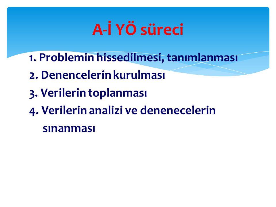 1.Problemin hissedilmesi, tanımlanması 2. Denencelerin kurulması 3.