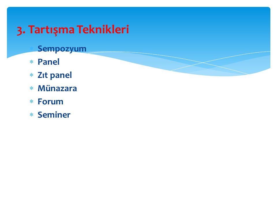  Sempozyum  Panel  Zıt panel  Münazara  Forum  Seminer 3. Tartışma Teknikleri