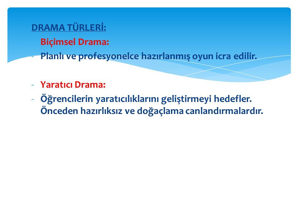 DRAMA TÜRLERİ: -Biçimsel Drama: -Planlı ve profesyonelce hazırlanmış oyun icra edilir.