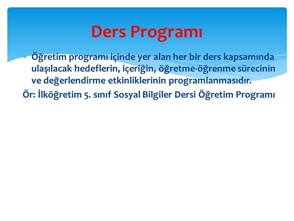  Öğretim programı içinde yer alan her bir ders kapsamında ulaşılacak hedeflerin, içeriğin, öğretme-öğrenme sürecinin ve değerlendirme etkinliklerinin programlanmasıdır.