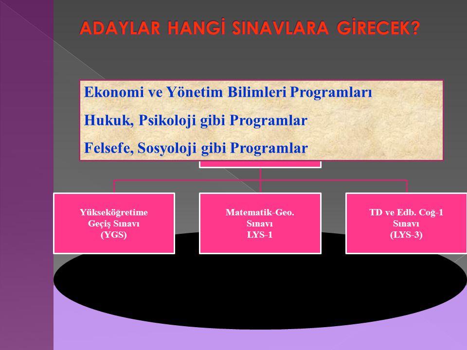 Yükseköğretime Geçiş Sınavı (YGS) Matematik-Geo. Sınavı LYS-1 TD ve Edb.