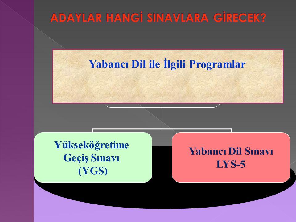 Yükseköğretime Geçiş Sınavı (YGS) Yabancı Dil Sınavı LYS-5 Yabancı Dil ile İlgili Programlar