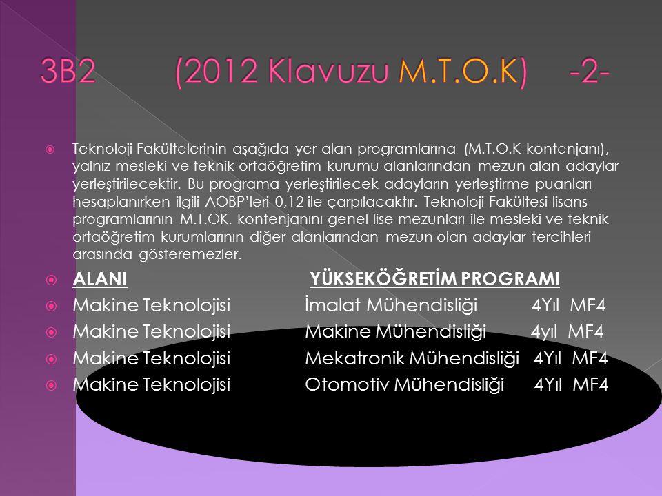  Teknoloji Fakültelerinin aşağıda yer alan programlarına (M.T.O.K kontenjanı), yalnız mesleki ve teknik ortaöğretim kurumu alanlarından mezun alan adaylar yerleştirilecektir.
