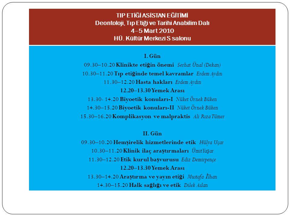 TIP ETİĞİ ASİSTAN EĞİTİMİ Deontoloji, Tıp Etiği ve Tarihi Anabilim Dalı 4–5 Mart 2010 HÜ. Kültür Merkezi S salonu I. Gün 09.30–10.20 Klinikte eti ğ in