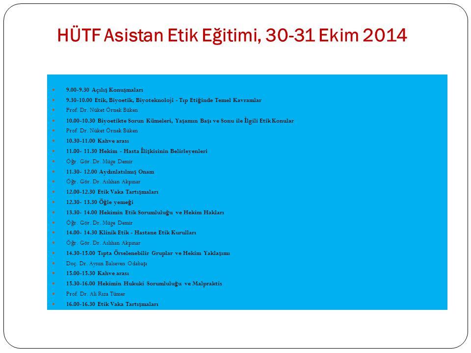 HÜTF Asistan Etik Eğitimi, 30-31 Ekim 2014 9.00-9.30 Açılı ş Konu ş maları 9.30-10.00 Etik, Biyoetik, Biyoteknoloji - Tıp Eti ğ inde Temel Kavramlar P