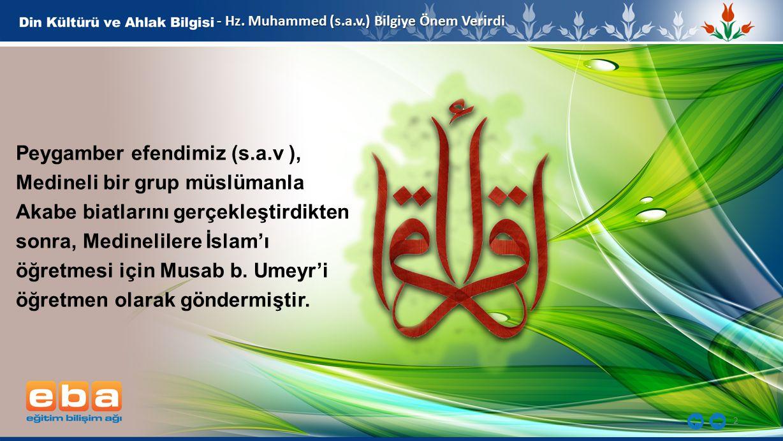 2 - Hz. Muhammed (s.a.v.) Bilgiye Önem Verirdi Peygamber efendimiz (s.a.v ), Medineli bir grup müslümanla Akabe biatlarını gerçekleştirdikten sonra, M