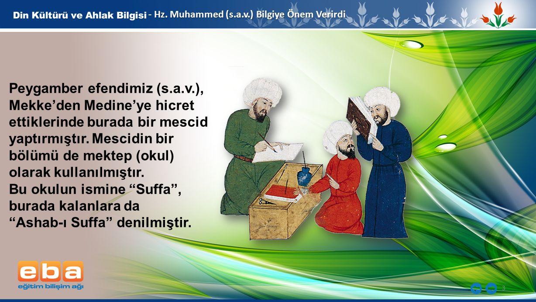 3 - Hz. Muhammed (s.a.v.) Bilgiye Önem Verirdi Peygamber efendimiz (s.a.v.), Mekke'den Medine'ye hicret ettiklerinde burada bir mescid yaptırmıştır. M