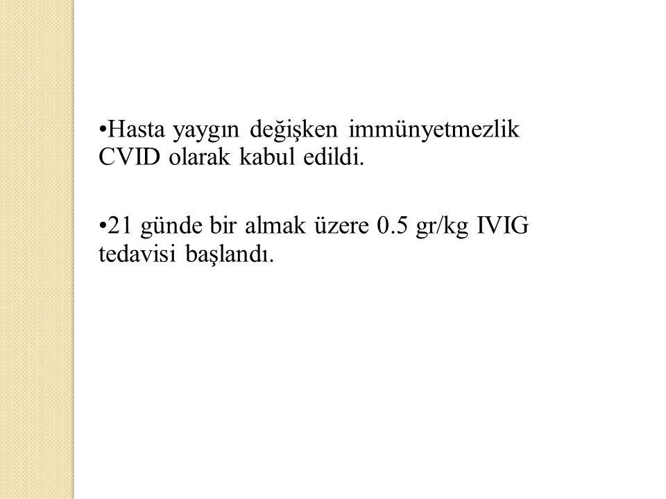 Hasta yaygın değişken immünyetmezlik CVID olarak kabul edildi. 21 günde bir almak üzere 0.5 gr/kg IVIG tedavisi başlandı.