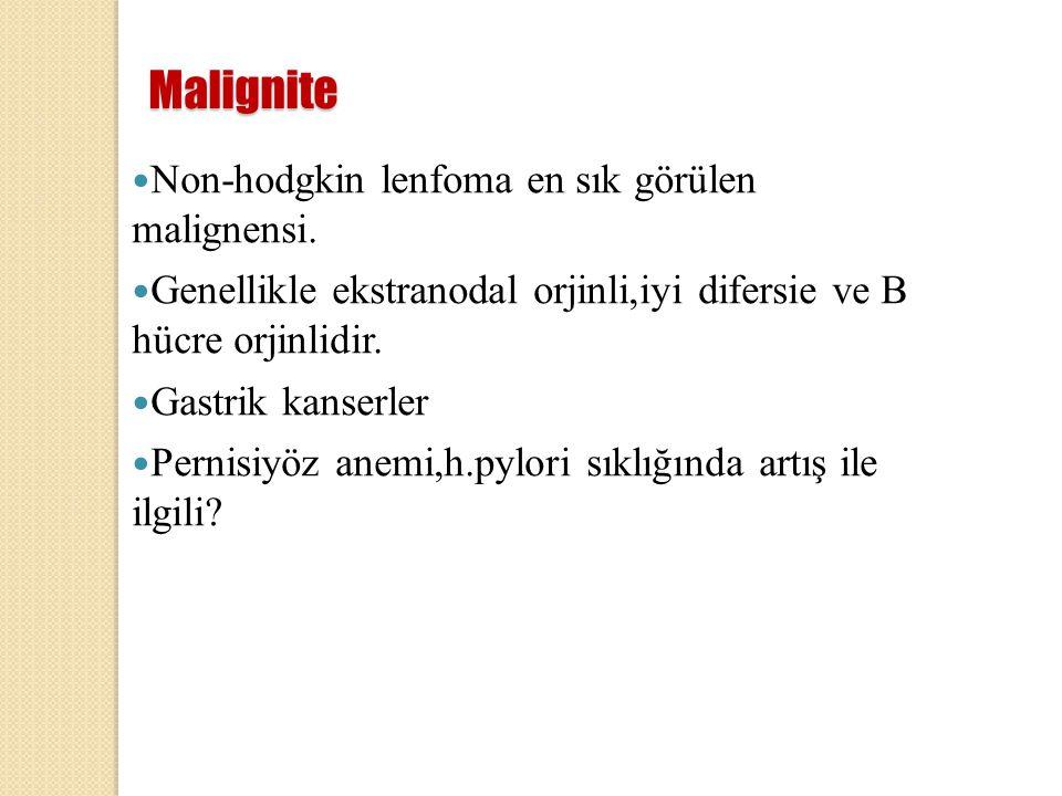 Malignite Non-hodgkin lenfoma en sık görülen malignensi. Genellikle ekstranodal orjinli,iyi difersie ve B hücre orjinlidir. Gastrik kanserler Pernisiy