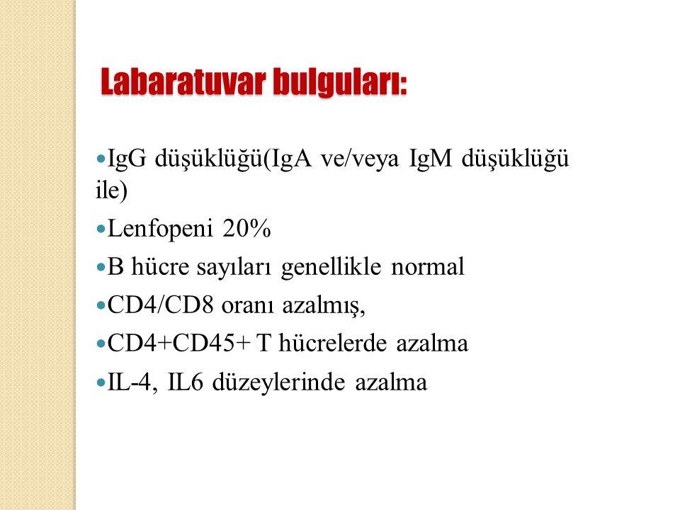 Labaratuvar bulguları: IgG düşüklüğü(IgA ve/veya IgM düşüklüğü ile) Lenfopeni 20% B hücre sayıları genellikle normal CD4/CD8 oranı azalmış, CD4+CD45+
