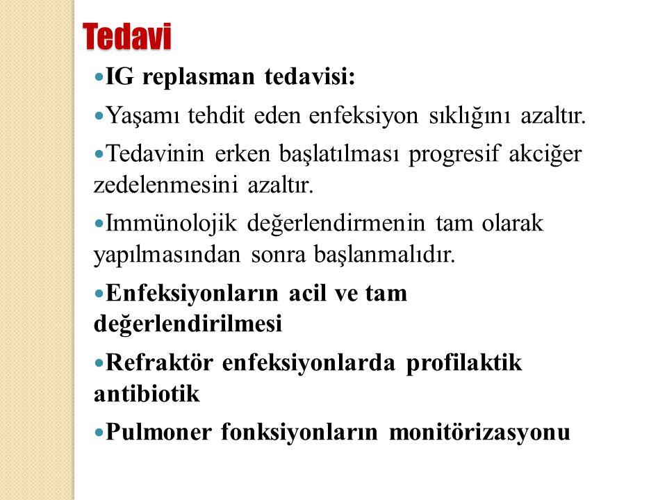 Tedavi IG replasman tedavisi: Yaşamı tehdit eden enfeksiyon sıklığını azaltır. Tedavinin erken başlatılması progresif akciğer zedelenmesini azaltır. I