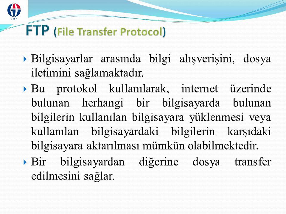 FTP protokolü ile bir başka bilgisayardan bir başka bilgisayara dosya aktarımı yapılırken, o bilgisayar ile etkileşimli-aynı anda (on-line) bağlantı kurulur ve protokol ile sağlanan bir dizi komutlar yardımıyla iki bilgisayar arasında dosya alma/gönderme işlemleri yapılır.