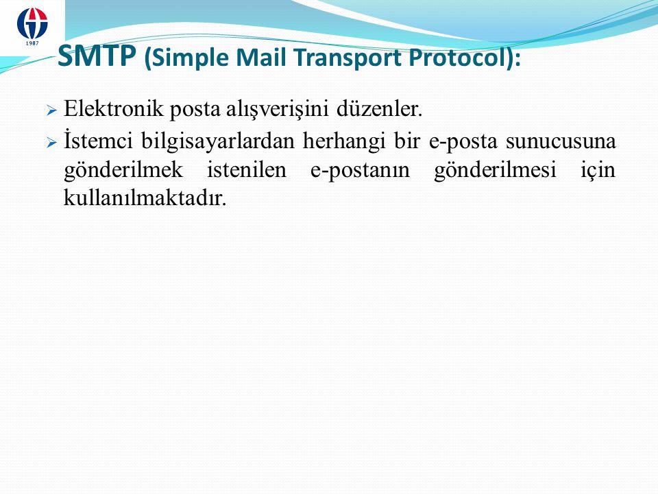 POP3 (Post Office Protocol):  Bir e-posta sunucuda bulunan elektronik postaların kullanılan bilgisayardaki posta kutusuna aktarılmasını sağlamaktadır.