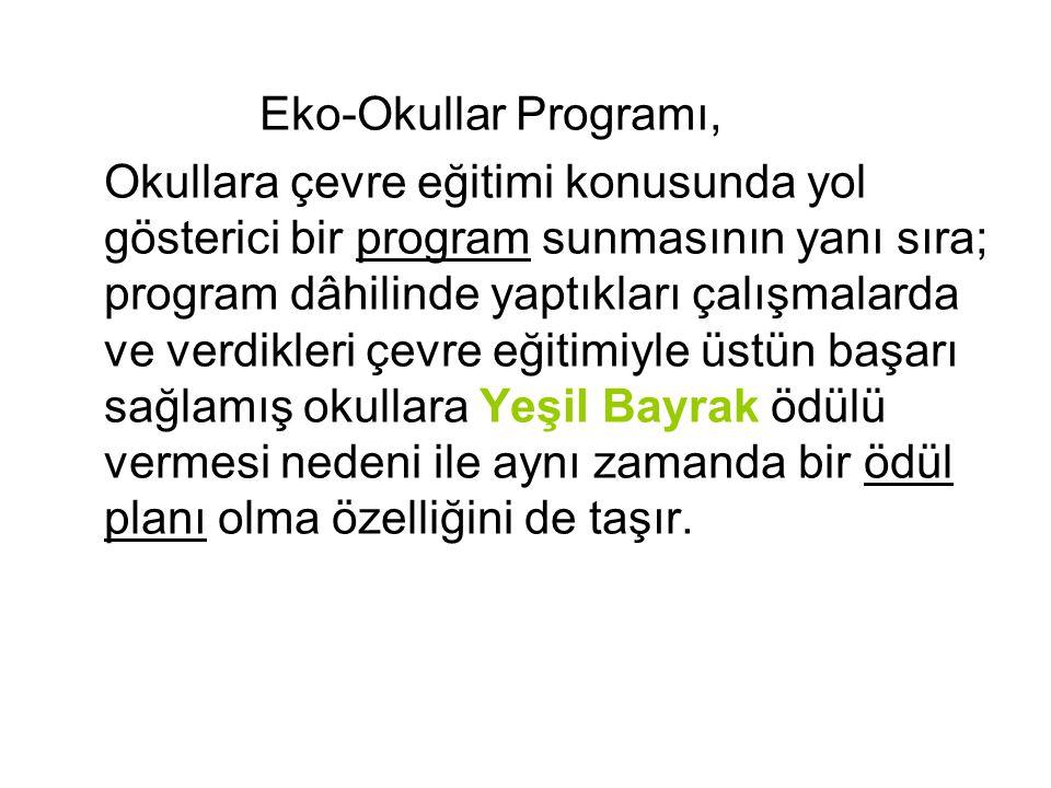 Eko-Okullar Programı, Okullara çevre eğitimi konusunda yol gösterici bir program sunmasının yanı sıra; program dâhilinde yaptıkları çalışmalarda ve ve