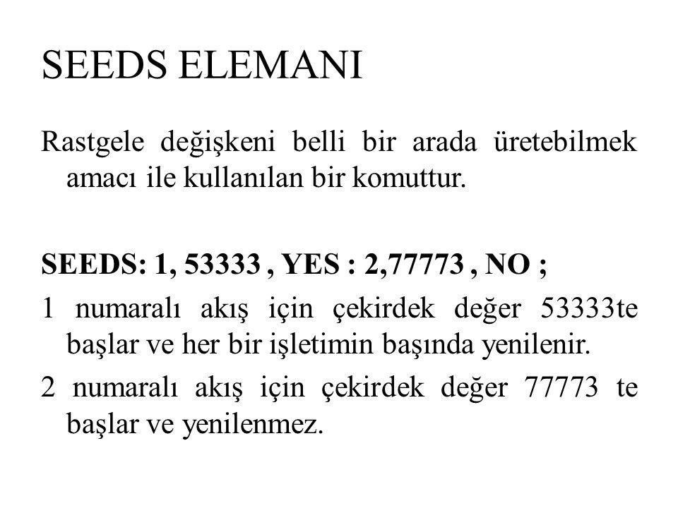 SEEDS ELEMANI Rastgele değişkeni belli bir arada üretebilmek amacı ile kullanılan bir komuttur. SEEDS: 1, 53333, YES : 2,77773, NO ; 1 numaralı akış i