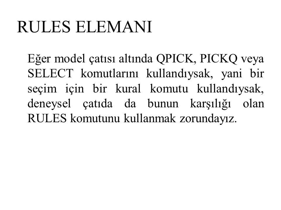 RULES ELEMANI Eğer model çatısı altında QPICK, PICKQ veya SELECT komutlarını kullandıysak, yani bir seçim için bir kural komutu kullandıysak, deneysel