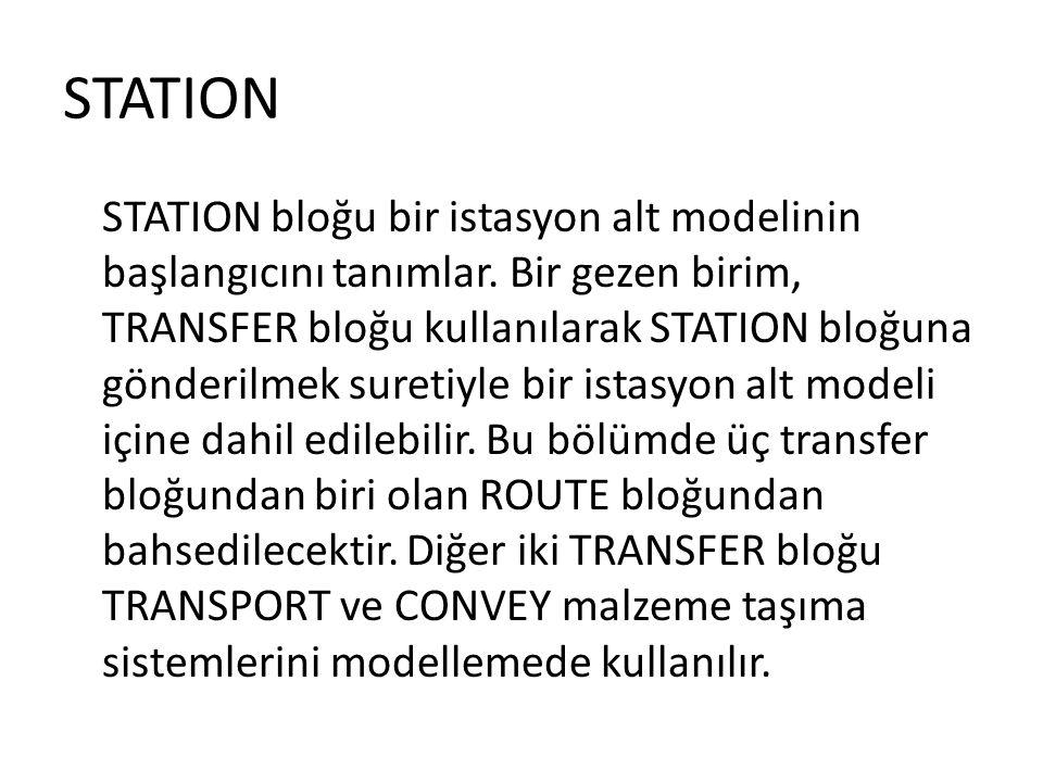 STATION STATION bloğu bir istasyon alt modelinin başlangıcını tanımlar. Bir gezen birim, TRANSFER bloğu kullanılarak STATION bloğuna gönderilmek suret
