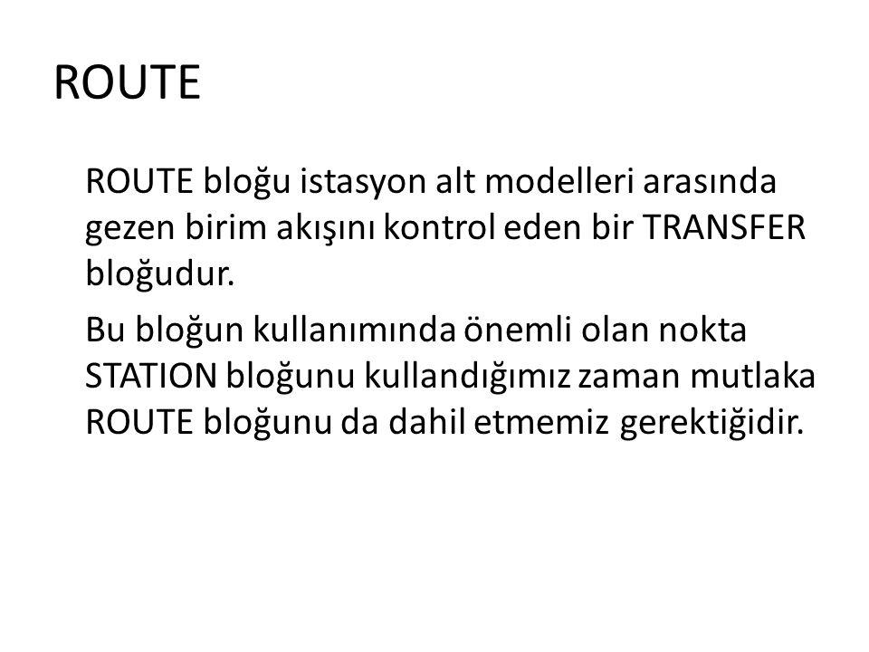 ROUTE ROUTE bloğu istasyon alt modelleri arasında gezen birim akışını kontrol eden bir TRANSFER bloğudur. Bu bloğun kullanımında önemli olan nokta STA