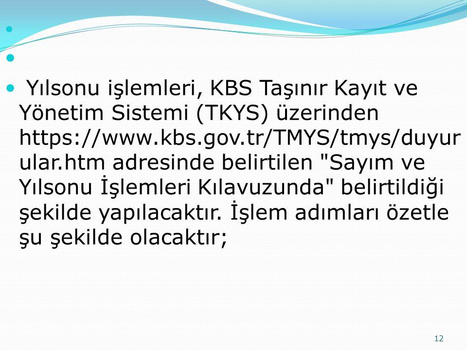 12 Yılsonu işlemleri, KBS Taşınır Kayıt ve Yönetim Sistemi (TKYS) üzerinden https://www.kbs.gov.tr/TMYS/tmys/duyur ular.htm adresinde belirtilen