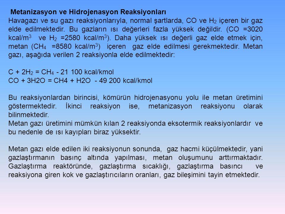 Metanizasyon ve Hidrojenasyon Reaksiyonları Havagazı ve su gazı reaksiyonlarıyla, normal şartlarda, CO ve H 2 içeren bir gaz elde edilmektedir. Bu gaz