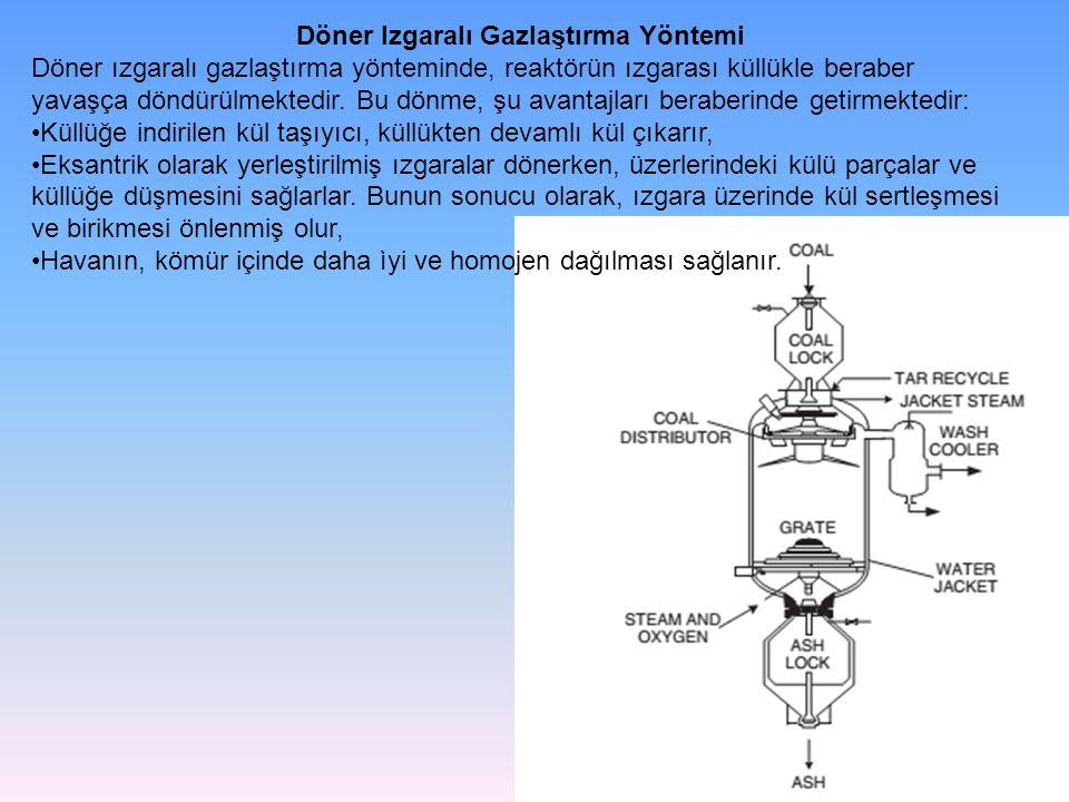 Döner Izgaralı Gazlaştırma Yöntemi Döner ızgaralı gazlaştırma yönteminde, reaktörün ızgarası küllükle beraber yavaşça döndürülmektedir. Bu dönme, şu a