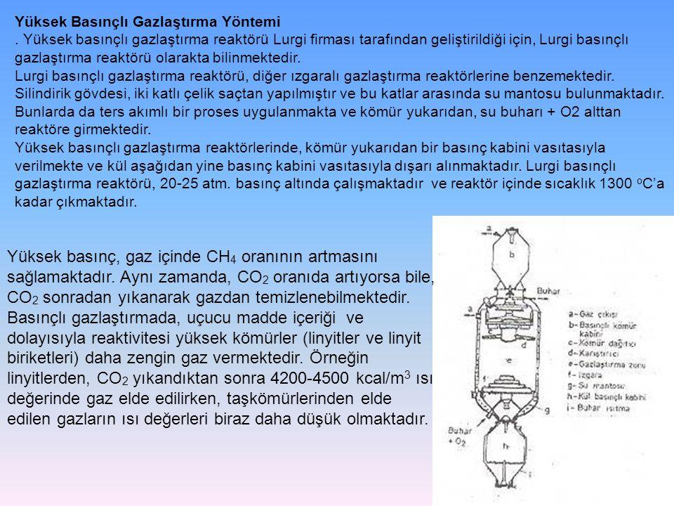 Yüksek Basınçlı Gazlaştırma Yöntemi. Yüksek basınçlı gazlaştırma reaktörü Lurgi firması tarafından geliştirildiği için, Lurgi basınçlı gazlaştırma rea