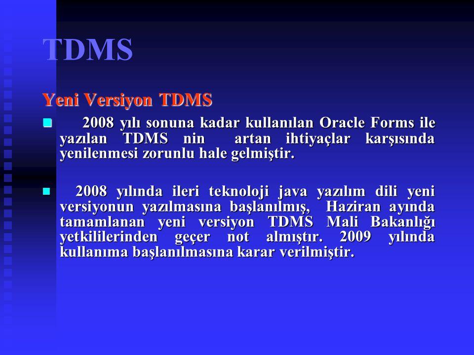 TDMS Yeni Versiyon TDMS 2008 yılı sonuna kadar kullanılan Oracle Forms ile yazılan TDMS nin artan ihtiyaçlar karşısında yenilenmesi zorunlu hale gelmi