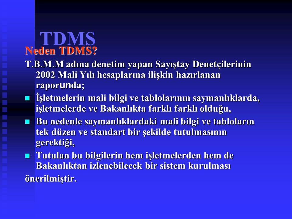 TDMS Neden TDMS? T.B.M.M adına denetim yapan Sayıştay Denetçilerinin 2002 Mali Yılı hesaplarına ilişkin hazırlanan rapor un da; İşletmelerin mali bilg