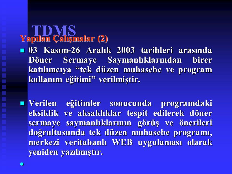 """TDMS Yapılan Çalışmalar (2) 03 Kasım-26 Aralık 2003 tarihleri arasında Döner Sermaye Saymanlıklarından birer katılımcıya """"tek düzen muhasebe ve progra"""