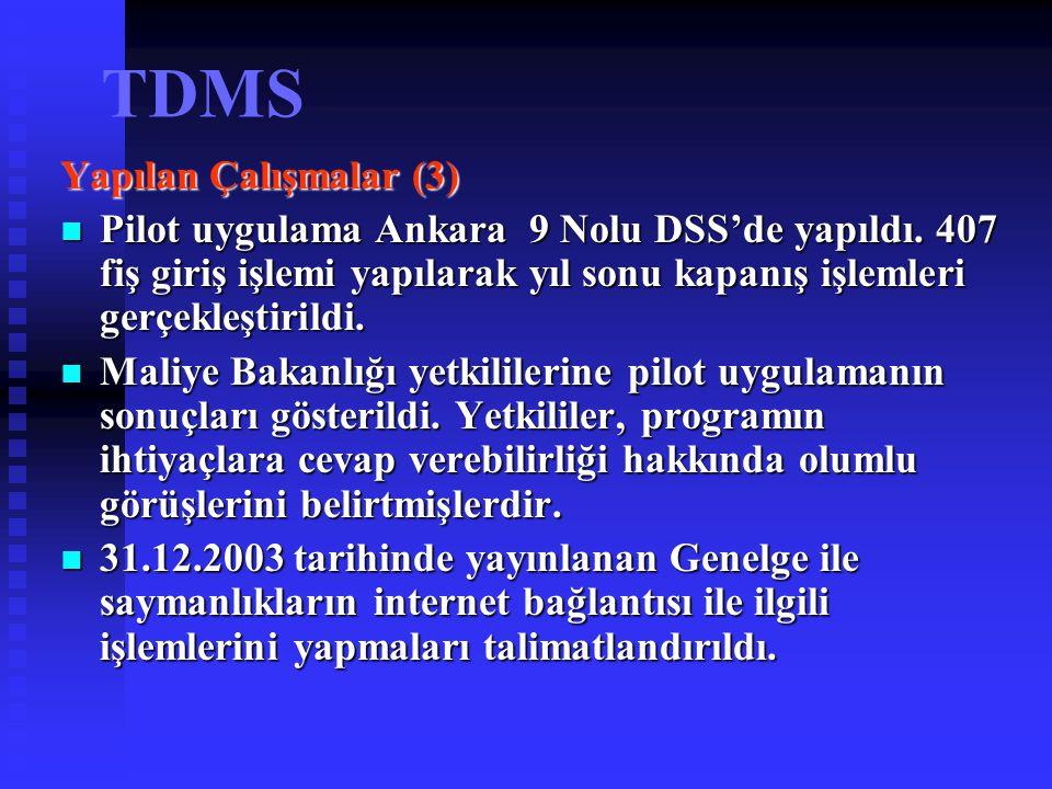 TDMS Yapılan Çalışmalar (3) Pilot uygulama Ankara 9 Nolu DSS'de yapıldı. 407 fiş giriş işlemi yapılarak yıl sonu kapanış işlemleri gerçekleştirildi. P
