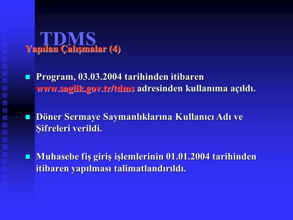 TDMS Yapılan Çalışmalar (5) Döner Sermaye Saymanlıklarının programı kullanılabilmesi için gerekli olan; Döner Sermaye Saymanlıklarının programı kullanılabilmesi için gerekli olan; Altyapı ihtiyaçları (bilgisayar ve çevre birimleri, personel eksikliği, mekan yetersizliği), Altyapı ihtiyaçları (bilgisayar ve çevre birimleri, personel eksikliği, mekan yetersizliği), Internet bağlantısı olup olmadığı,tespit çalışmaları yapıldı.