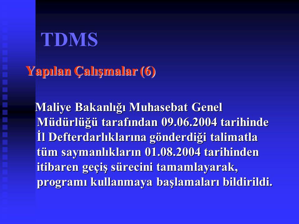 TDMS Yapılan Çalışmalar (7) Programın kullanımı ve sıkça karşılaşılan sorunların çözümü ile ilgili olarak Temmuz Ağustos 2004 tarihleri arasında; Ankara, Bursa, İzmir, Konya, Adana, Trabzon, Samsun İstanbul, Erzurum, Diyarbakır, Van, Afyon, Antalya'da çevre illerde bulunan Sağlık Kurumları Döner Sermaye Saymanlıklarının çalışanlarına uygulamalı olarak bölge toplantılarında eğitim verilmiştir.