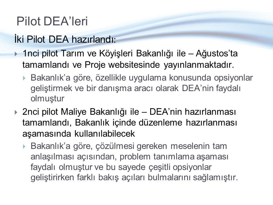 Pilot DEA'leri İki Pilot DEA hazırlandı :  1nci pilot Tarım ve Köyişleri Bakanlığı ile – Ağustos'ta tamamlandı ve Proje websitesinde yayınlanmaktadır.