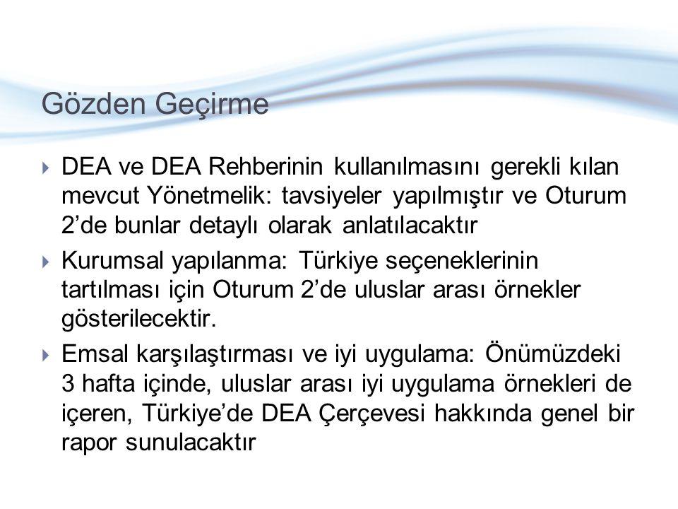 Gözden Geçirme  DEA ve DEA Rehberinin kullanılmasını gerekli kılan mevcut Yönetmelik: tavsiyeler yapılmıştır ve Oturum 2'de bunlar detaylı olarak anlatılacaktır  Kurumsal yapılanma: Türkiye seçeneklerinin tartılması için Oturum 2'de uluslar arası örnekler gösterilecektir.