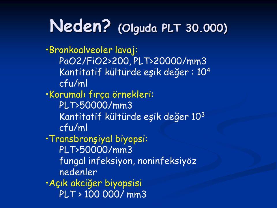Neden? (Olguda PLT 30.000) Bronkoalveoler lavaj: PaO2/FiO2>200, PLT>20000/mm3 Kantitatif kültürde eşik değer : 10 4 cfu/ml Korumalı fırça örnekleri: P