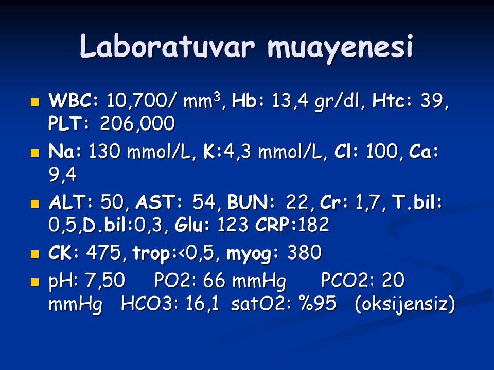 Laboratuvar muayenesi WBC: 10,700/ mm 3, Hb: 13,4 gr/dl, Htc: 39, PLT: 206,000 WBC: 10,700/ mm 3, Hb: 13,4 gr/dl, Htc: 39, PLT: 206,000 Na: 130 mmol/L
