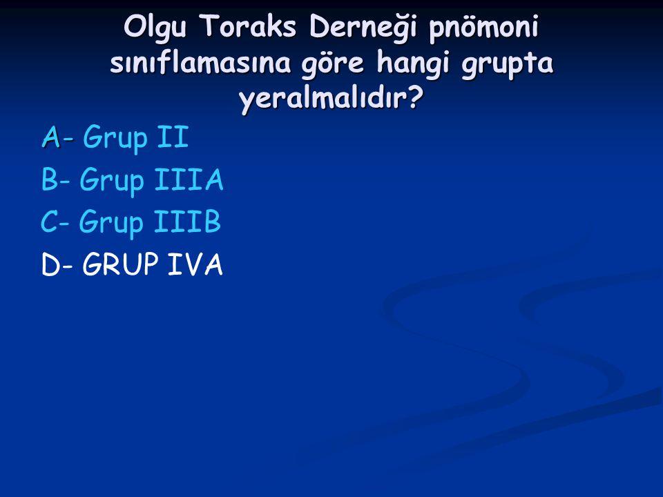 Olgu Toraks Derneği pnömoni sınıflamasına göre hangi grupta yeralmalıdır? A- A- Grup II B- Grup IIIA C- Grup IIIB D- GRUP IVA