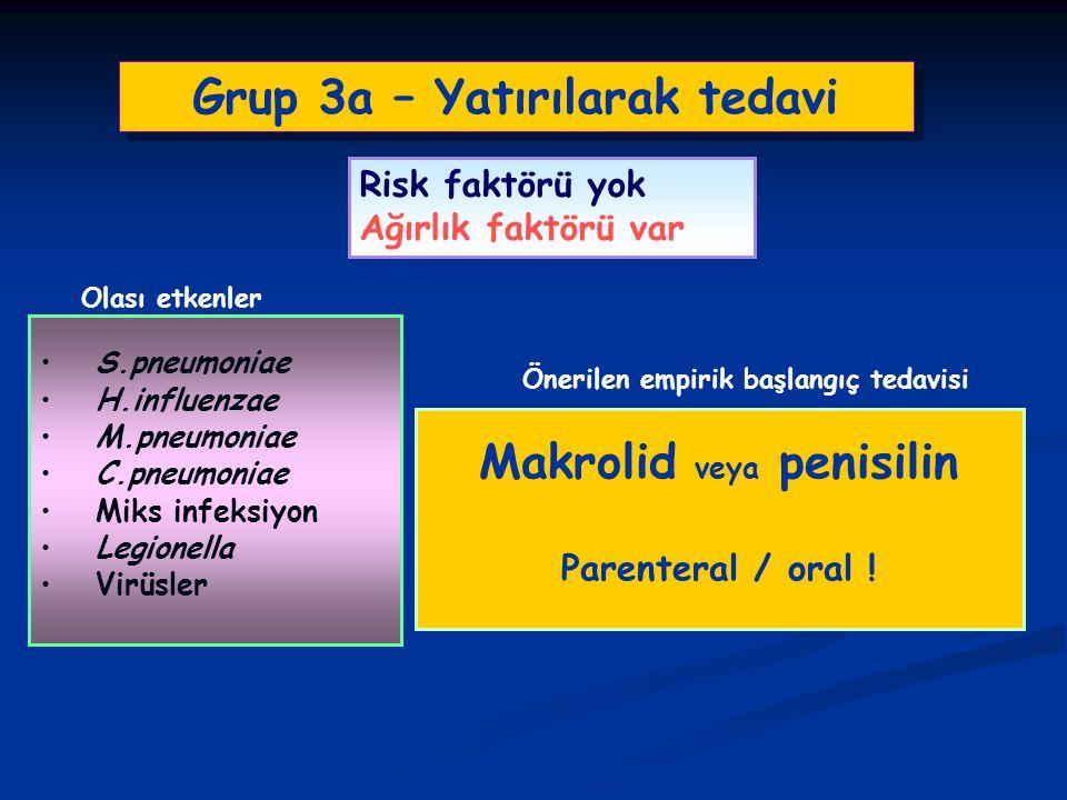 Grup 3a – Yatırılarak tedavi S.pneumoniae H.influenzae M.pneumoniae C.pneumoniae Miks infeksiyon Legionella Virüsler Risk faktörü yok Ağırlık faktörü
